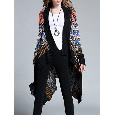 Plus Size Ethnic Print Asymmetric Cardigan
