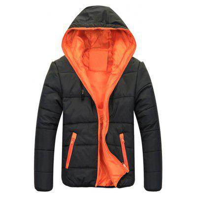 Contrast Zippered Drawstring Hooded Quilted Jacket
