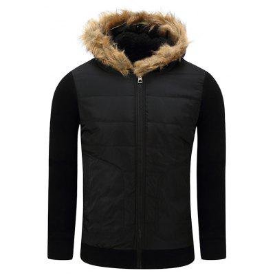 Furry Hood Thicken Zip-Up Cotton Padded Jacket