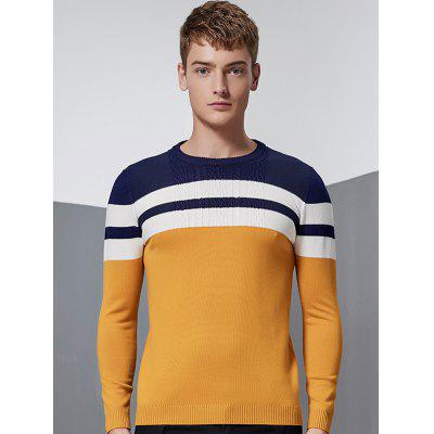 Buy YELLOW Color Block Splicing Stripe Design Crew Neck Long Sleeve Sweater for $8.82 in GearBest store