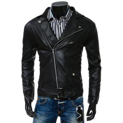Turn-Collar PU-Leather Belt Embellished Epaulet Long Sleeve Jacket For Men
