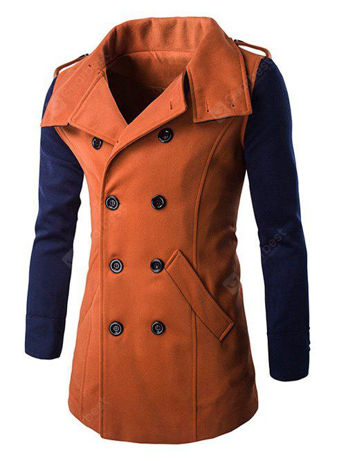 Double-Breasted Turn-Down Collar Color Block Splicing Woolen Coat