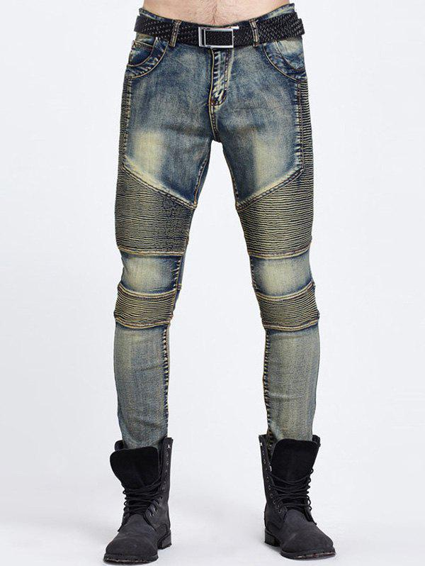 BLUE Cool Zipper Fly Ribbed Panel Ripped Jeans
