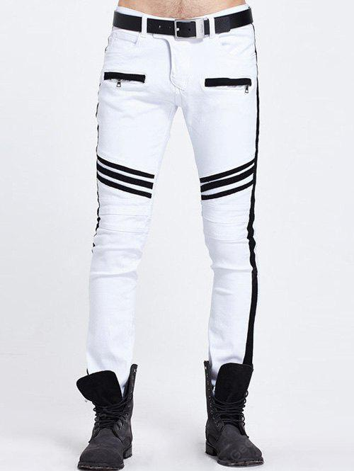 WHITE Zippered Pocket Contrast Panel Skinny Jeans