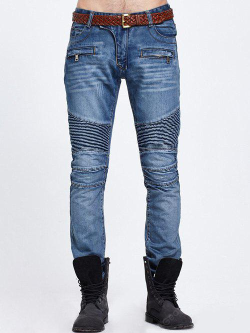 BLUE Zipper Pocket Biker Denim Jeans