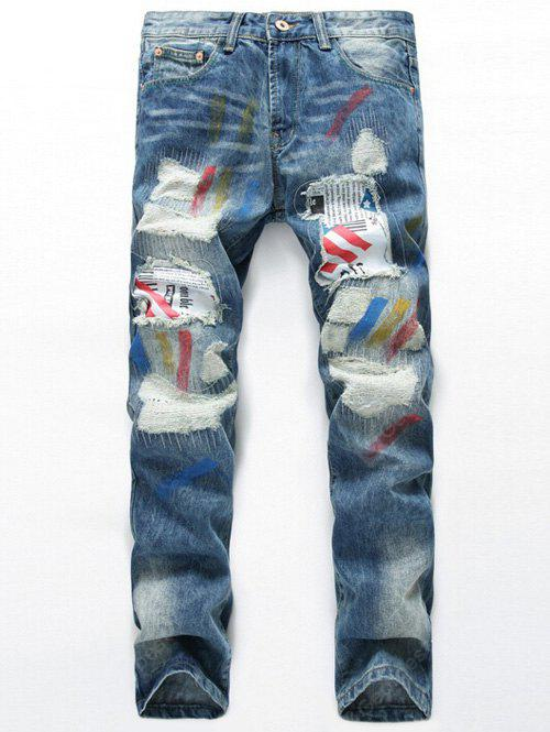 LIGHT BLUE Splatter Paint Distressed Patch Design Straight Leg Jeans