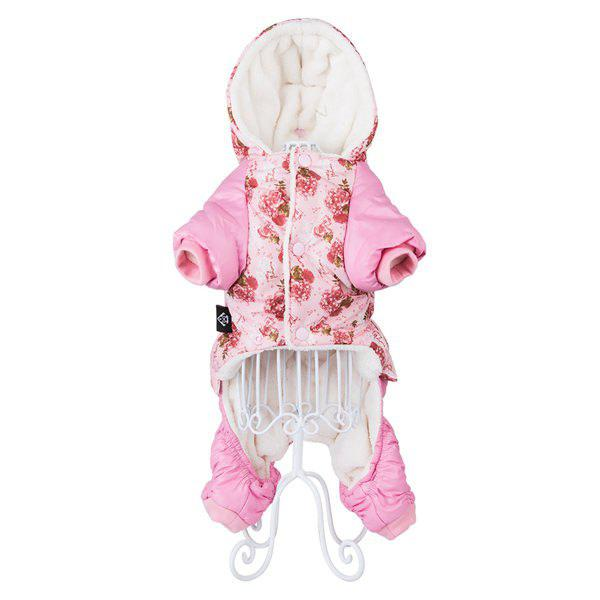 Winter Warm Floral Pet Dog Jacket Hoody Clothes