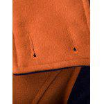 Double-Breasted Turn-Down Collar Color Block Splicing Woolen Coat - LARANJA