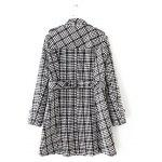 Buy Plus Size Plaid Double Breasted Long Wool Coat 4XL BLACK