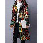 Hooded Printed Quilted Coat - COLORMIX