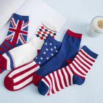 One Set Stripe Star Rhombus British Flag Pattern Socks deal