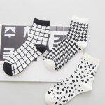 One Set Cross Plaid Vertical Stripes Pattern Socks deal