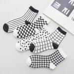 cheap One Set Cross Plaid Vertical Stripes Pattern Socks