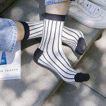 One Set Cross Plaid Vertical Stripes Pattern Socks photo