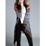 cheap Plus Size Ethnic Print Asymmetrical Cardigan