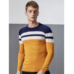 cheap Color Block Splicing Stripe Design Crew Neck Long Sleeve Sweater