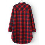 cheap Plus Size Slit Long Sleeve Checkered Plaid Shirt