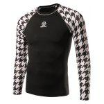 cheap Active Houndstooth Raglan Long Sleeve Cycling T-Shirt