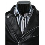 cheap Turn-Collar PU-Leather Belt Embellished Epaulet Long Sleeve Jacket For Men