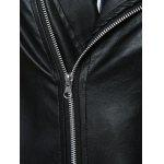 Turn-Collar PU-Leather Belt Embellished Epaulet Long Sleeve Jacket For Men deal