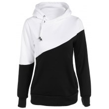 Drawstring Pullover Color Block Hoodie