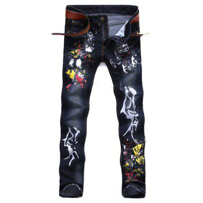 Paint Splatter Zipper Fly Jeans