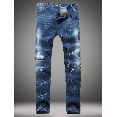 Buy DENIM BLUE Paint Splatter Patch Design Jeans for $31.28 in GearBest store