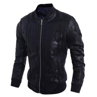Stand Collar Crack Design PU-Leather Zip-Up Bomber Jacket