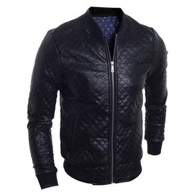 Stand Collar Argyle PU-Leather Zip-Up Bomber Jacket