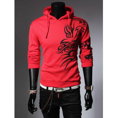 Totem Printed Drawstring Long Sleeves Hoodie