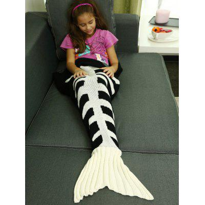 Buy Kids Knitted Fishbone Sofa Wrap Mermaid Tail Blanket WHITE AND BLACK M for $15.65 in GearBest store