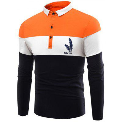 Polo Collar Color Block Splicing Leaves Applique Long Sleeve T-Shirt