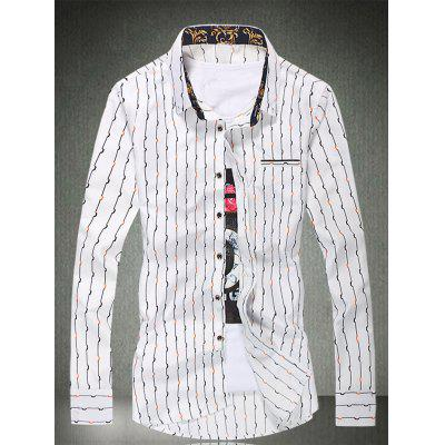 Buy WHITE Vertical Wave Line Printed Long Sleeve Shirt for $18.53 in GearBest store