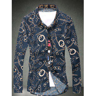 Chain Circle Printed Plus Size Shirt