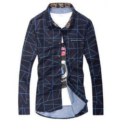 Geometric Checked Print Plus Size Shirt