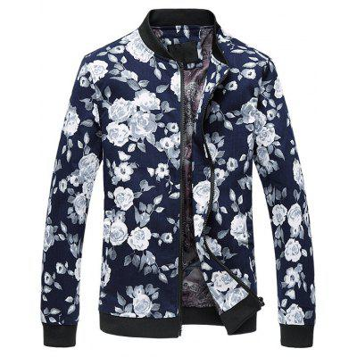 Floral Print Plus Size Zipper Long Sleeves Jacket