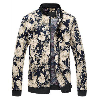3D Flower Pattern Plus Size Zipper Stand Collar Jacket