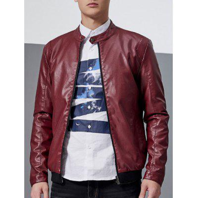 Stand Collar Faux Leather Jacket