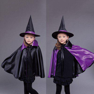 Halloween Kids Cosplay Witch Cloak Hat Costume Set