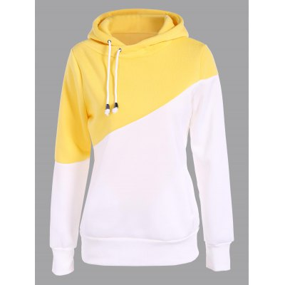 Pullover Drawstring Color Block Yellow Hoodie
