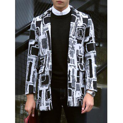 Geometric Pattern Notch Lapel Coat