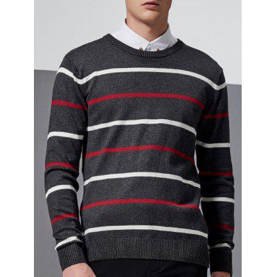 Long Sleeve Ribbed Striped Crew Neck Sweater