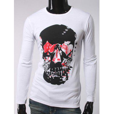 Buy WHITE Argyle Skull Print Crew Neck Long Sleeve T-Shirt for $16.85 in GearBest store