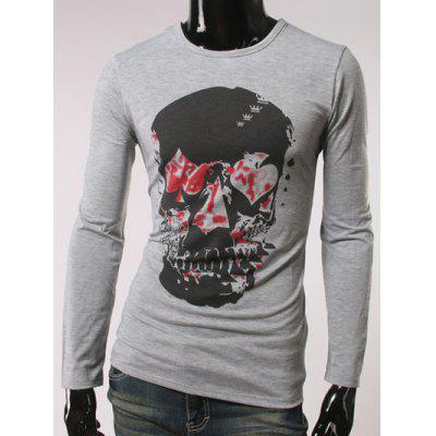 Buy GRAY Argyle Skull Print Crew Neck Long Sleeve T-Shirt for $16.85 in GearBest store
