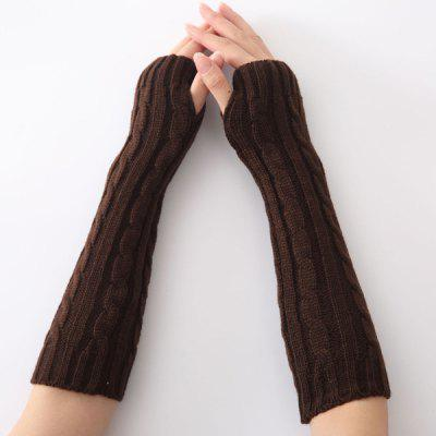 Buy COFFEE Christmas Winter Hemp Flowers Crochet Knit Arm Warmers for $5.39 in GearBest store