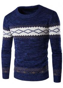 Crew Neck Geometric Space Dyed Sweater