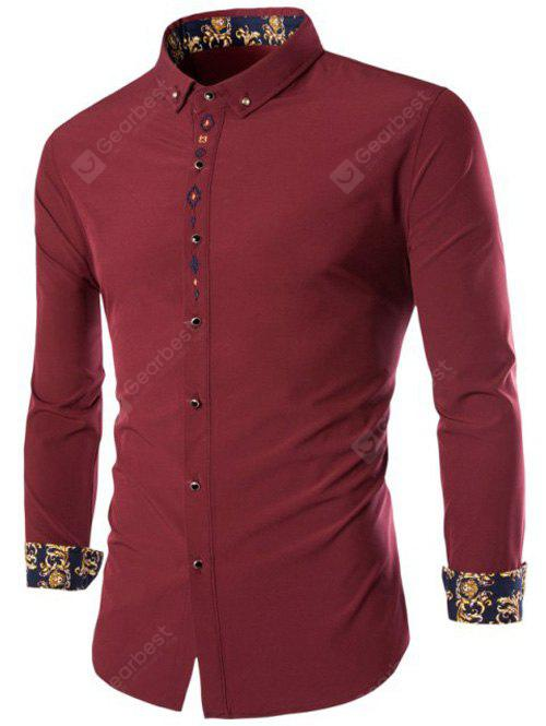 Manches longues broderie Button-Down Shirt