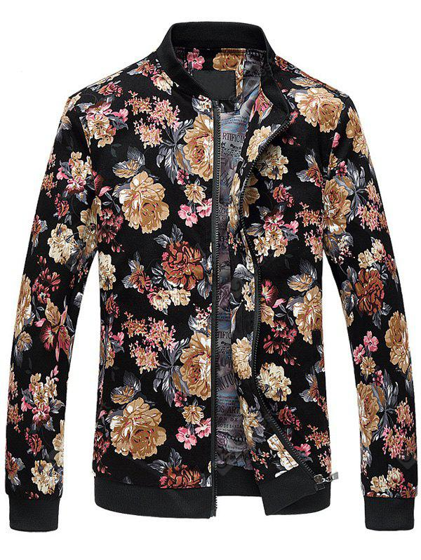 Zip Up Stand Collar Motif Fleurs Plus Size Jacket