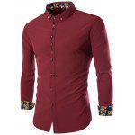 Manches longues broderie Button-Down Shirt - ROUGE VINEUX