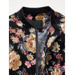 Zip Up Stand Collar Motif Fleurs Plus Size Jacket - MULTICOLORE